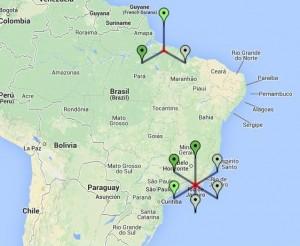 Mapa do Brasil com alguns usuários conectados simultaneamente utilizando o sistema.